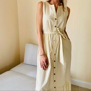 NWT Calvin Klein maxi button front ruffle dress